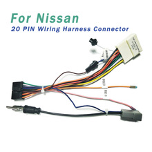 20 pin wiring harness connector adapter 1din or 2din android power cable  harness suitable for nissan