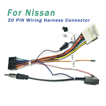 20 PIN Wiring Harness Connector Adapter 1din or 2din Android Power Cable Harness Suitable for Nissan 12v 24v relay harness control cable for h4 hi lo hid bulbs wiring controller