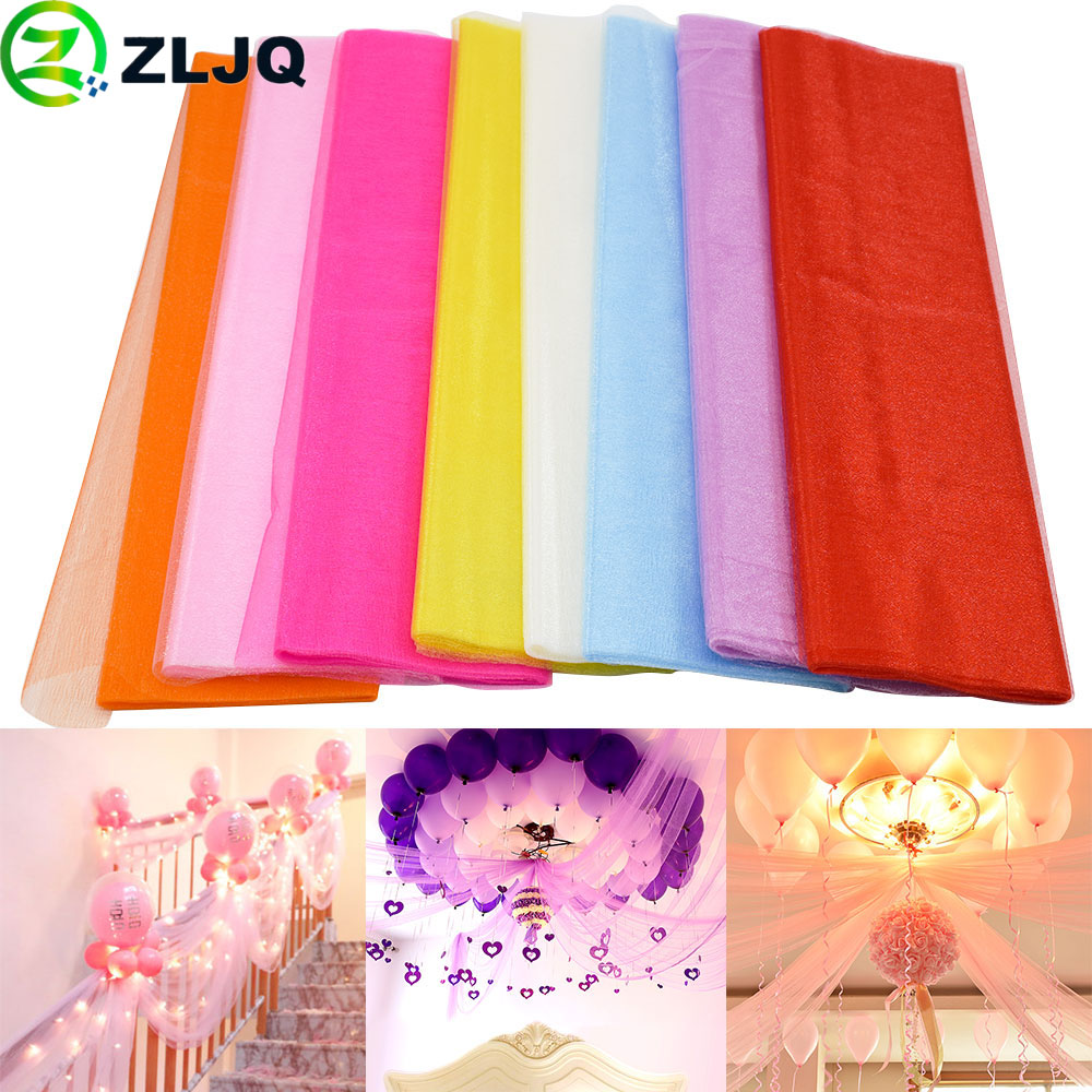 ZLJQ 48CMx5M Tulle Roll Crystal Fabric Organza Christmas Decor Tulle Roll  Spool Wedding Decoration Birthday Party Baby Shower 6J-in Party DIY  Decorations ... 2e0315a170f4
