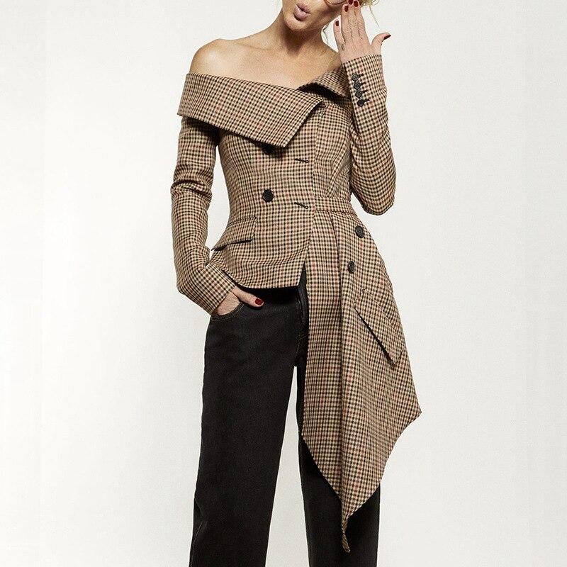 Défilé Trapèze 2019 Khaki Plaid Ol Top De Corée Mode Costumes Marque Styles Femmes Rues Loisirs Tqt1I