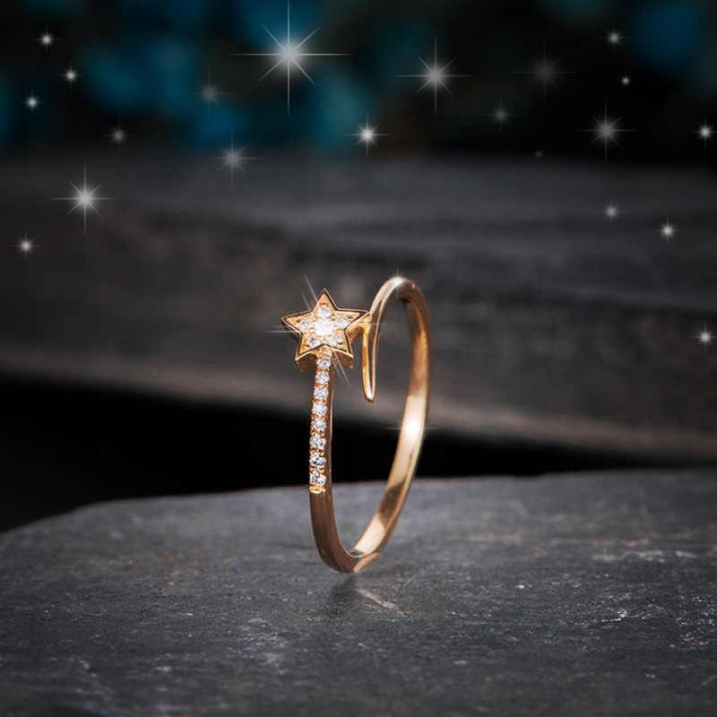 Huitan Open Ring Simple Stylish Star Design With Cz Paved Rose Gold Ring For Girl Daily Wear Fashion Jewelry Romantic Ring Aliexpress