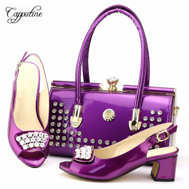 Nigerian Pretty Purple Woman Party Shoes And Bag Set Hot Sale African Pumps 6CM Shoes And