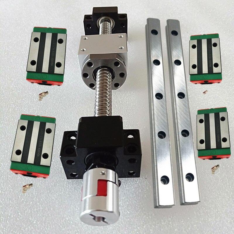 free shipping 2 sets linear rail HGH15 linear guide any length bearing blocks SFU1605 ballscrew BK12