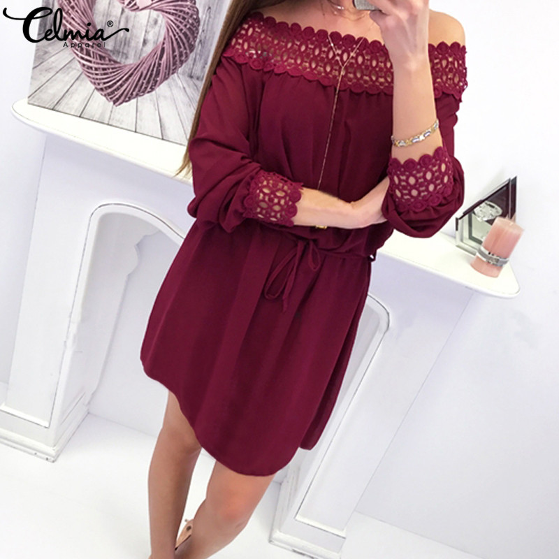 Celmia Women Chiffon Dress Patchwork Lace Off Shoulder Slash Neck Sexy Dresses Elegant Solid Party Mini Vestidos Mujer Plus Size