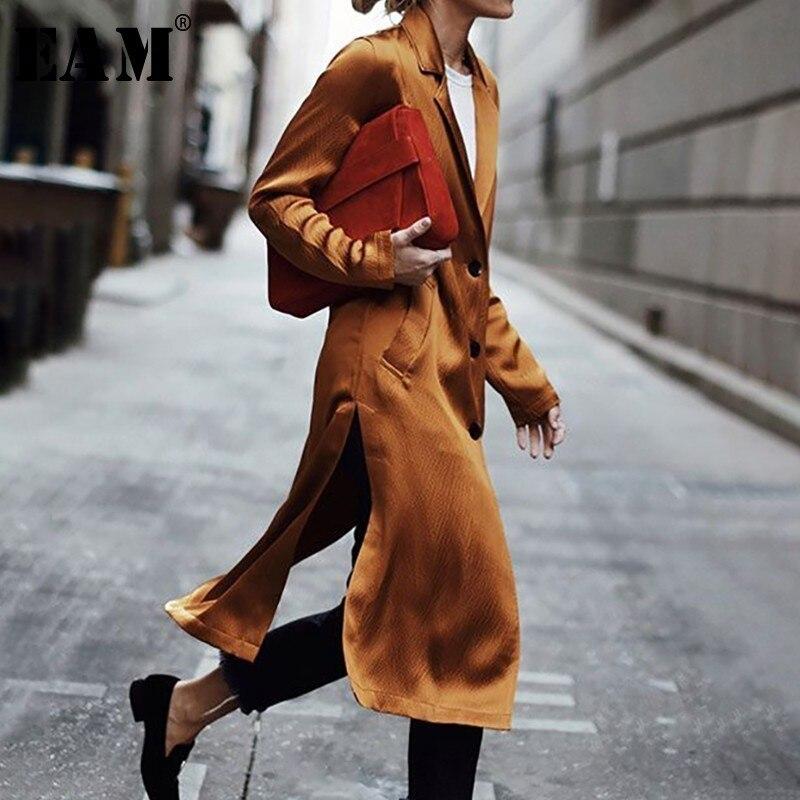 [EAM] 2019 nouveau printemps revers à manches longues simple boutonnage lâche Long côté Vent poche veste femmes manteau mode marée JG780