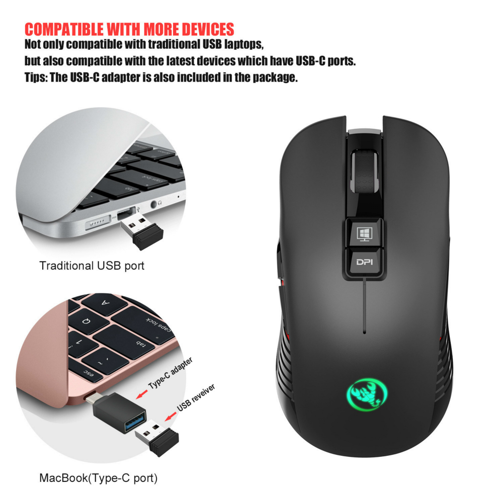 4 Adjustable DPI Levels,750mAh Battery,8 Buttons for Notebook 2.4G Wireless Mouse,Portable Mobile Optical Mouse,with USB Receiver Computer Laptop PC