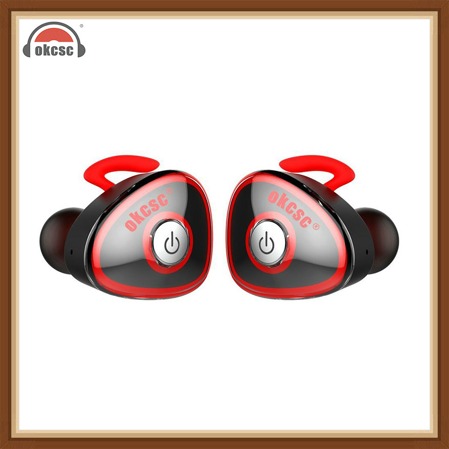 OKCSC Mini Wireless Bluetooth Headset Twins In Ear Sport Earphones Stereo Running With Mic Support Phone Call for Phone xiaomi