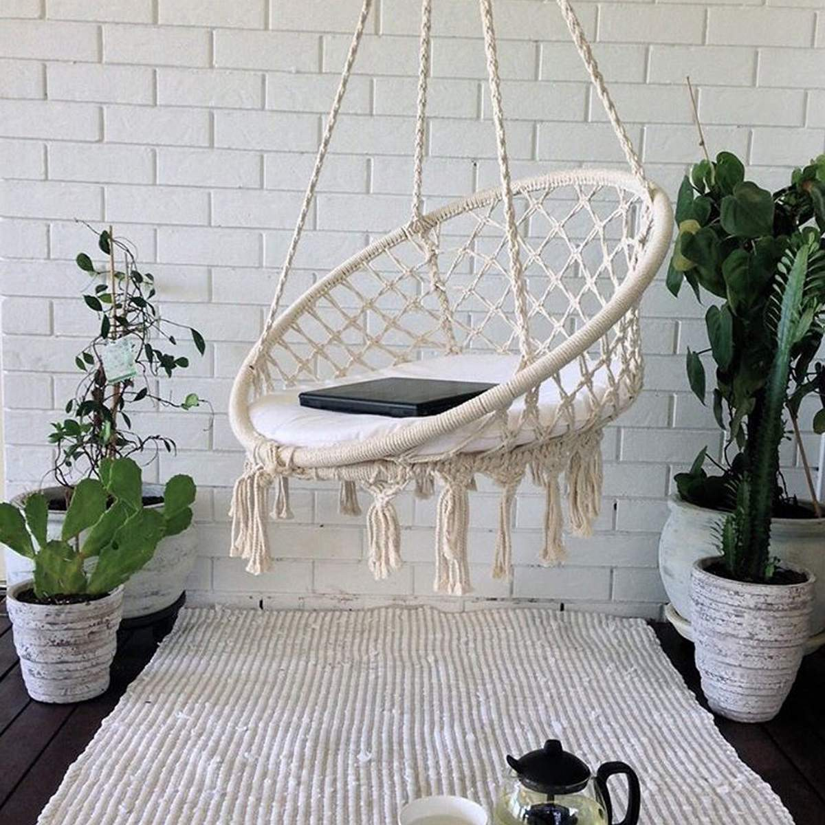 Hanging Outdoor Chairs Round Hammock Swing Hanging Chair Outdoor Indoor Furniture Hammock Chair For Garden Dormitory Child Adult With Tools