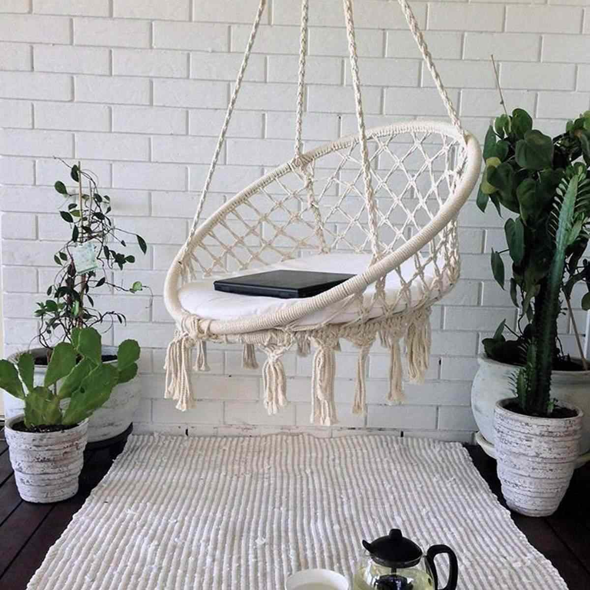 Hanging Chair Outdoor Round Hammock Swing Hanging Chair Outdoor Indoor Furniture Hammock Chair For Garden Dormitory Child Adult With Tools
