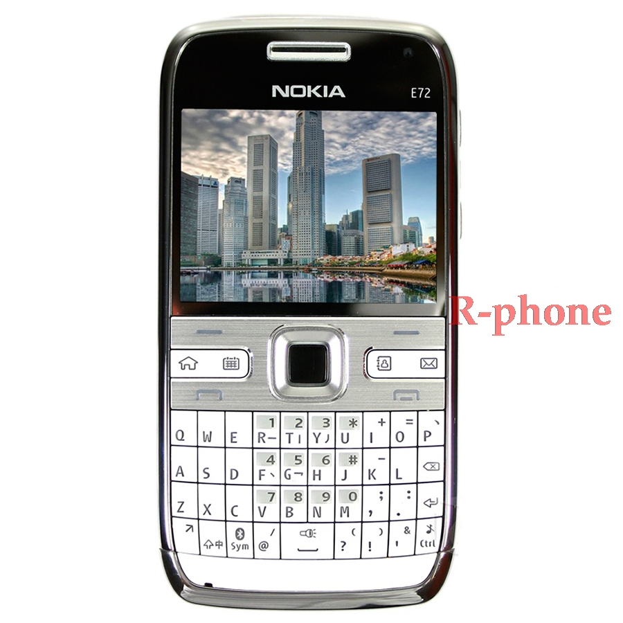 E72 100%オリジナルのNokia E72携帯電話3G Wifi GPS 5MPブラック(ロック解除)Eシリーズスマートフォン&1年間保証携帯電話