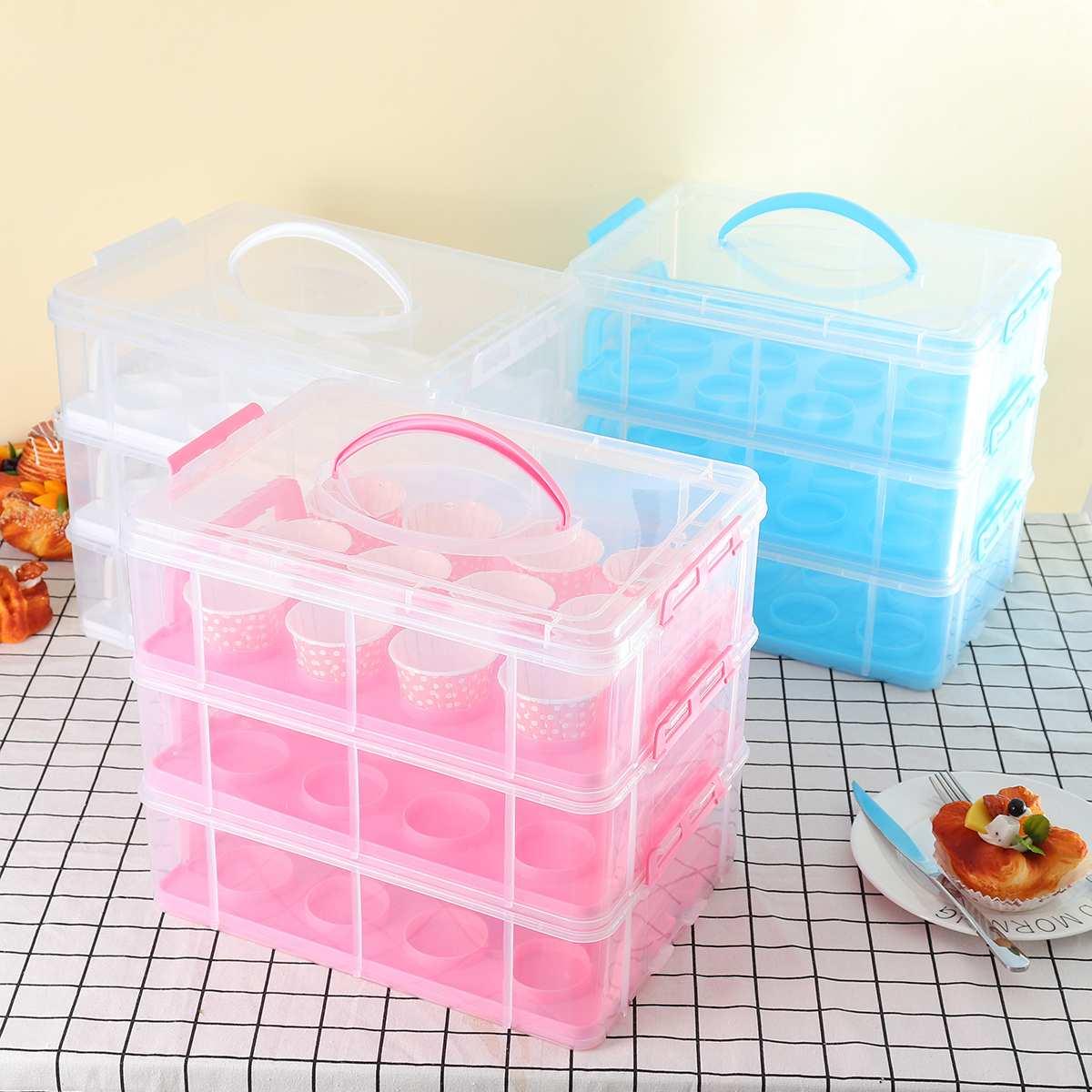 36 pièces 3 niveaux Cupcake boîte de rangement organisateur porte-gâteau réglable Snap guidon conteneur empilable Portable