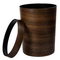 Hipsteenレトロスタイルプレスリングプラスチックごみ缶世帯オフィスmimetic木目ごみビン-ダークブラウン