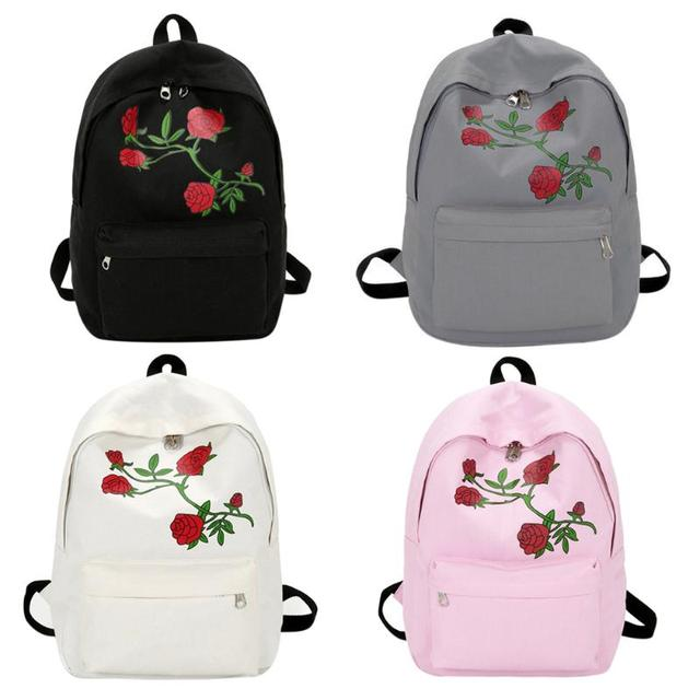 262eadee85cd Preppy Chic Women Men Canvas Heart Backpack Cute Women Rose Embroidery  Backpacks for Teenagers Women s School Bags Mochilas Ruck
