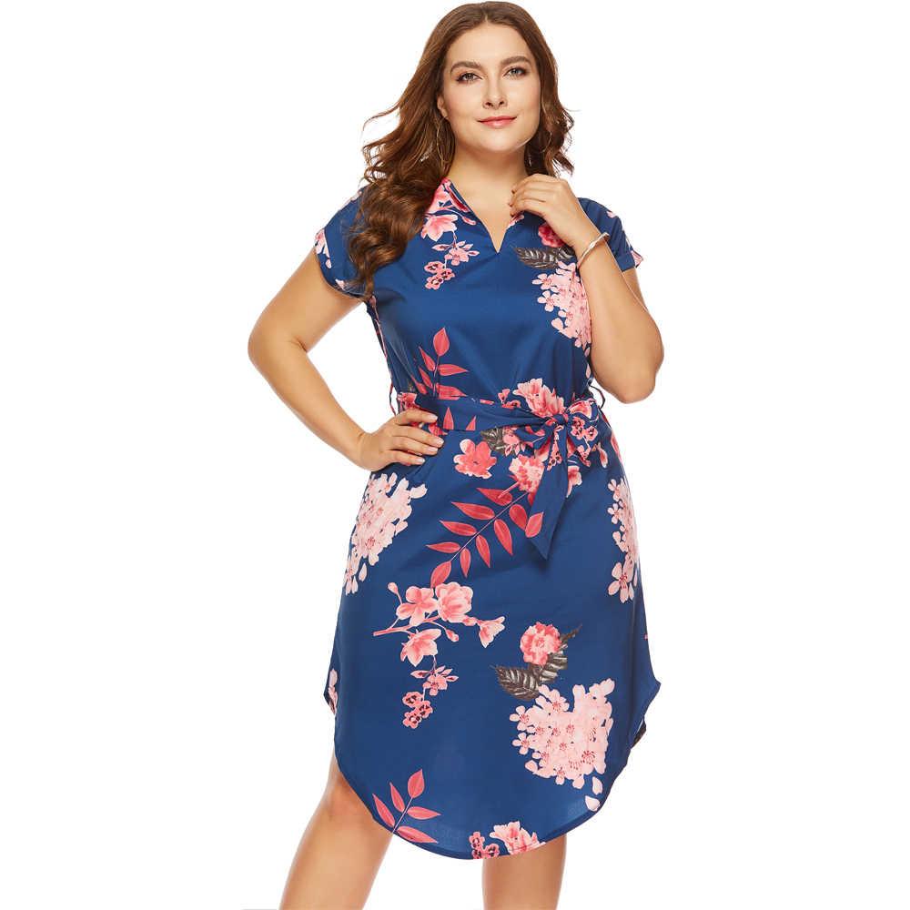 b81c75f5faa52 Wipalo Fashion Women Plus Size Dresses Summer Casual Long V-Neck Short  Sleeve Flower Print Loose Dress Vestidos Women Big Size