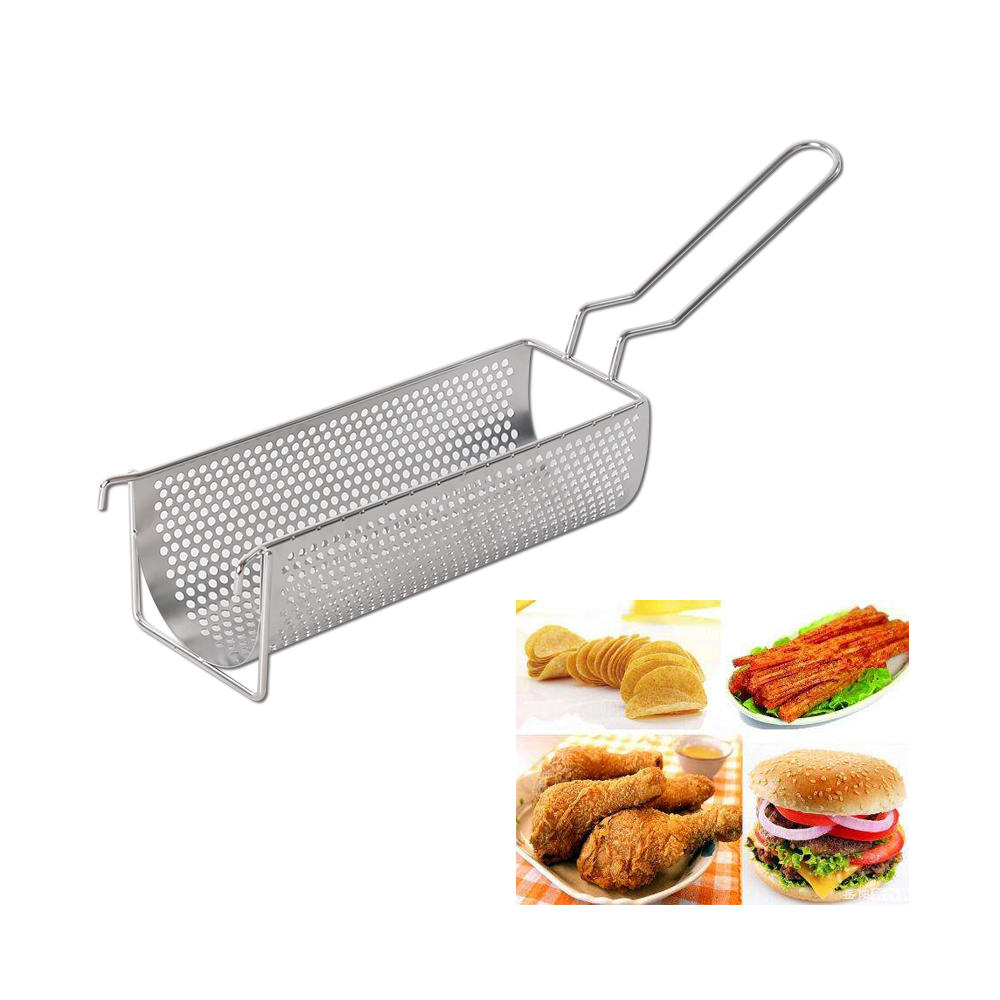 Commercial Stainless Steel Fried Basket Long 30cm Potato Chip Frying Container Best For French Fries Potato Chip Squeezers