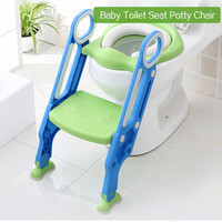 Baby Toilet Seat Folding Children Anti slip Potty Chair Trainer With Adjustable Ladder Child Potty Toilet Seat Step