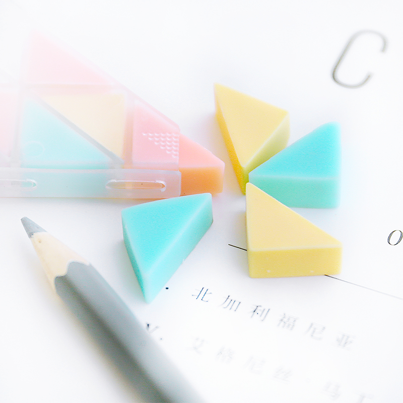 Lovely Corner Music Students Creative Small Triangle Rubber Erasers