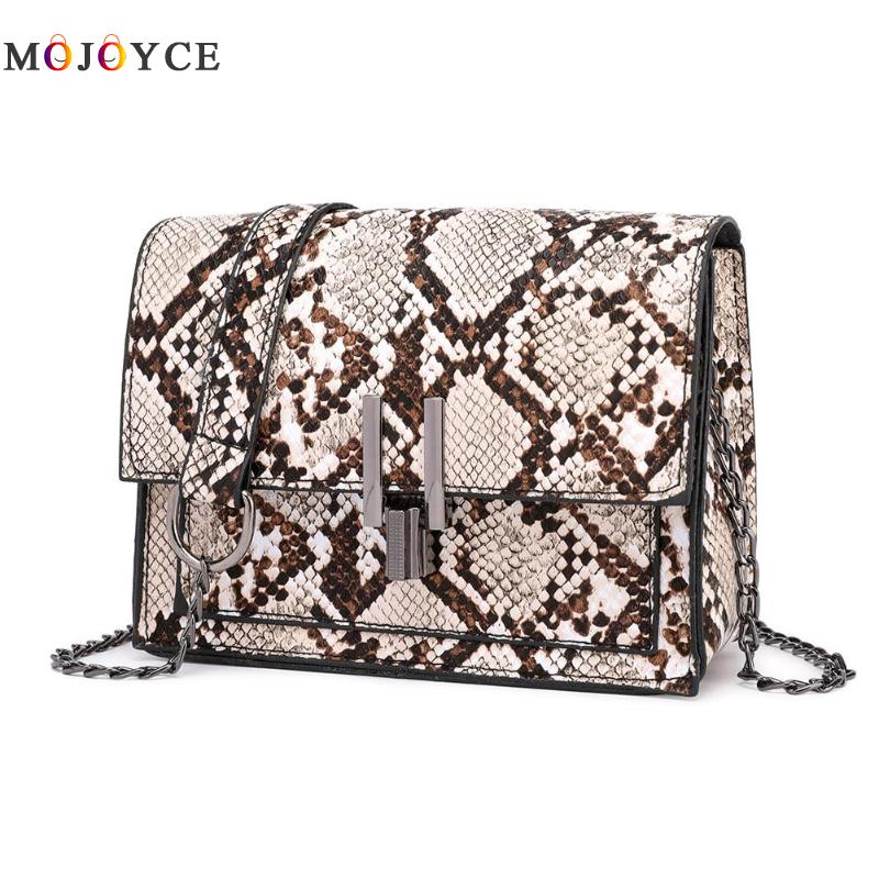 New Fashion Small Snake Print Flap Shoulder Bag Female PU Leather Chain Crossbody Bags For Women Size 17x13x7cm