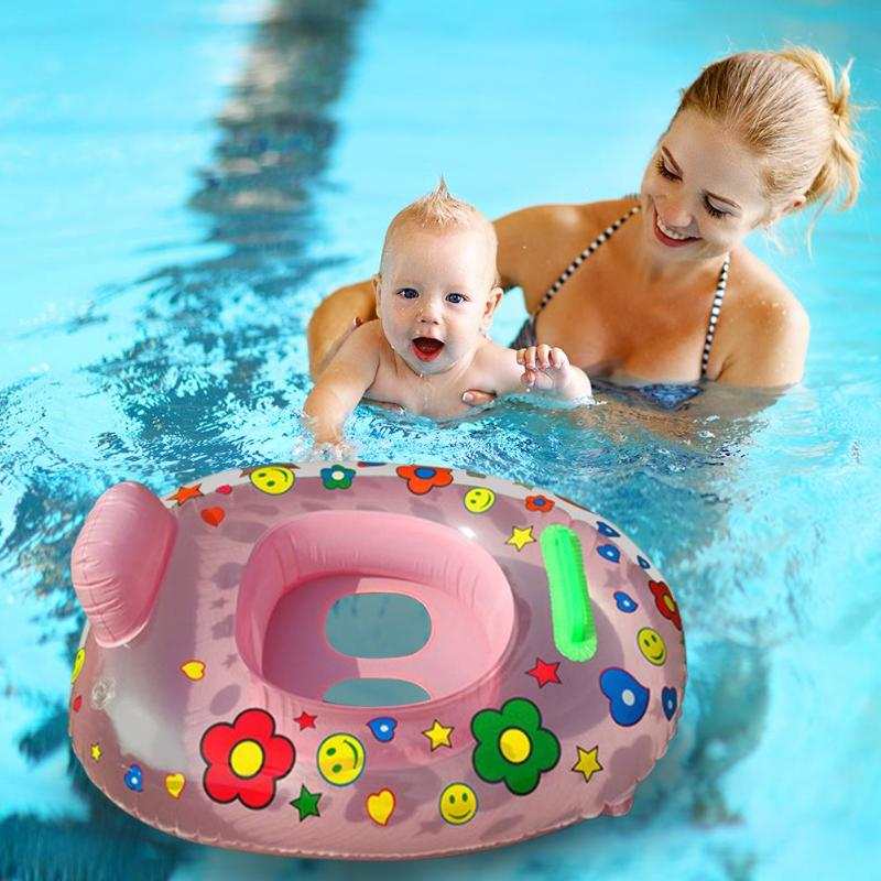 Portable Summer Swimming Ring Cartoon Safety Inflatable Neck Float Circle Thicken Bathing Pool Water Fun Pool Toys