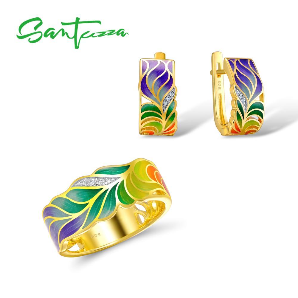 SANTUZZA Jewelry Set For Woman 925 Sterling Silver HANDMADE Colorful Enamel Flower White CZ Ring Earrings