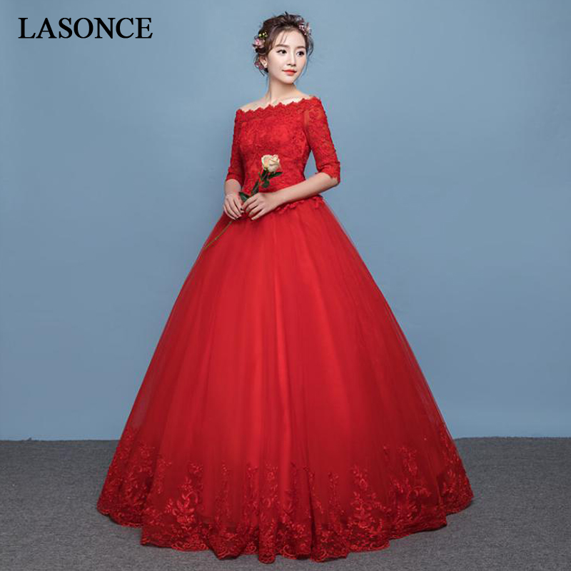 LASONCE Red Ball Gown Wedding Dresses Elegant Boat Neck Illusion Lace Appliques Half Sleeve Backless Bridal Dress