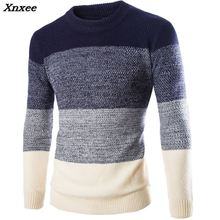 Men Sweater Pullovers Long Sleeve 2018 Autumn Winter Fashion British Style Slim o-neck Patchwork Color for man Xnxee