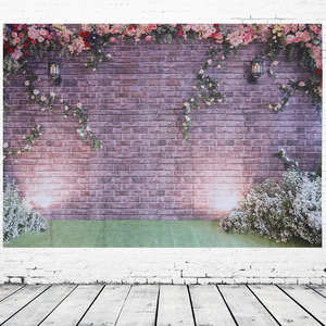 Image 5 - 장식 로맨틱 벽돌 벽 꽃 생일 파티 비닐 사진 배경 웨딩 장식 배경 스튜디오