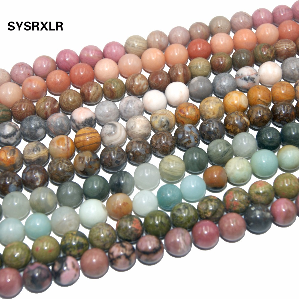 Natural Stone Bead Pink Quartz Amethysts Agates Lapis lazuli Tiger Eye Turquoises For Jewelry Making DIY Bracelet 4/6/8/10/12 MM(China)