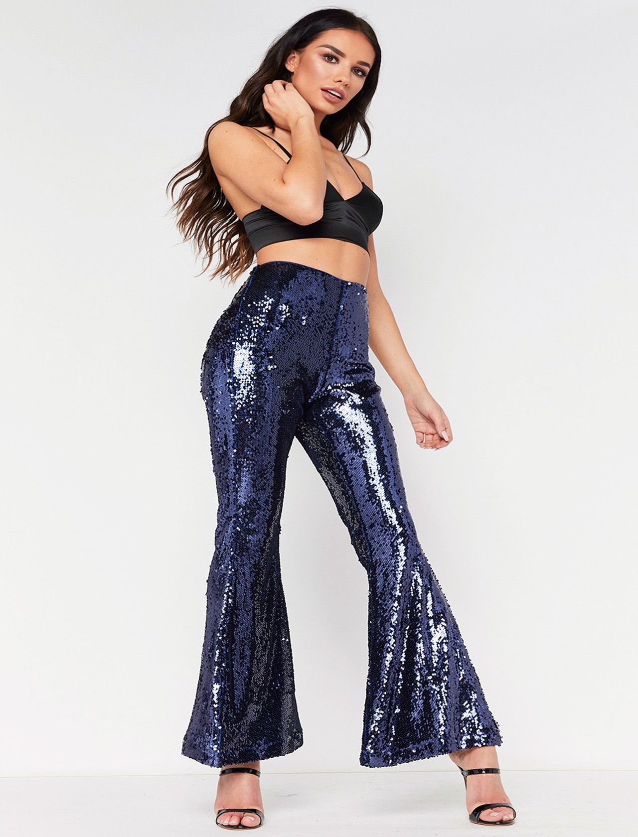 da21a9ebbcaa16 Sexy Club Women Multi Color Sequin Flared Trousers High waist Vintage Wide  Leg Shinny Pants Women Bell Bottom Leggings-in Pants & Capris from Women's  ...