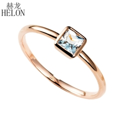 HELON 0.3ct naturalny akwamaryn pierścionek 10K różowe złoto akwamaryn pierścionek zaręczynowy obrączka kobiety Trendy biżuteria pierścionek jubileuszowy