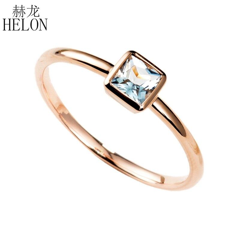 HELON 0.3ct anillo de Aguamarina Natural 14 K oro rosa aguamarina anillo de compromiso anillo de boda mujeres joyería de moda anillo de aniversario-in Anillos from Joyería y accesorios    1