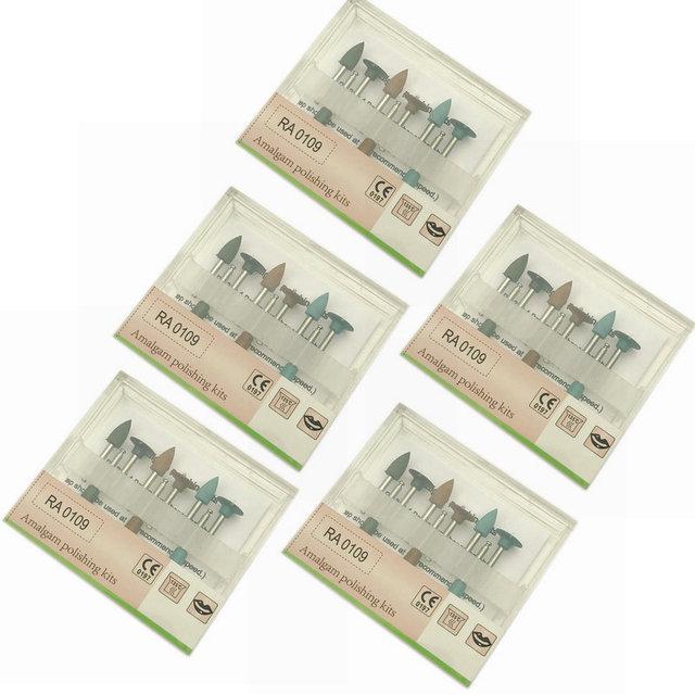5X Dental Amalgam Polishing Kits Silicone Polisher Diamond Burs Cups RA 0109