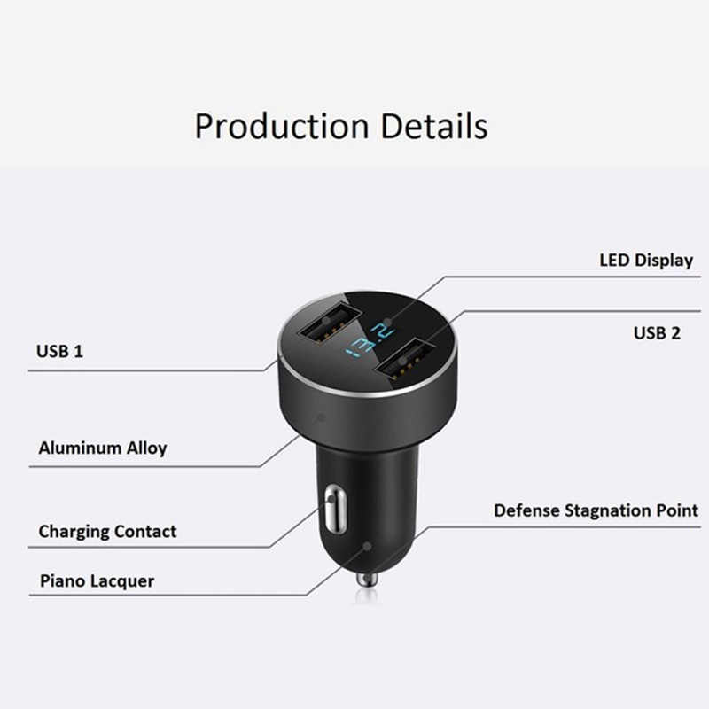 3.1A Dual USB Car Charger 2 Port LCD Display 12-24V Cigarette Socket Lighter Fast Car Charger Power Adapter