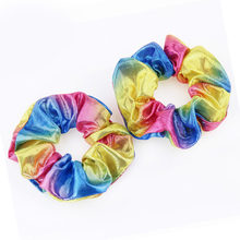 1Pcs Glitter Bronzing Colorful Rainbow Women's Elastic Hair Rope Scrunchie Hair Rings Ponytail Holder Hair Accessories For Girls(China)