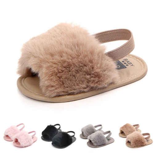 אופנה תינוקות פעוט תינוק בנות פרווה סנדלי בנות רך Sole נעלי אנטי להחליק כפכפים שטוח מקרית Prewalker קיץ