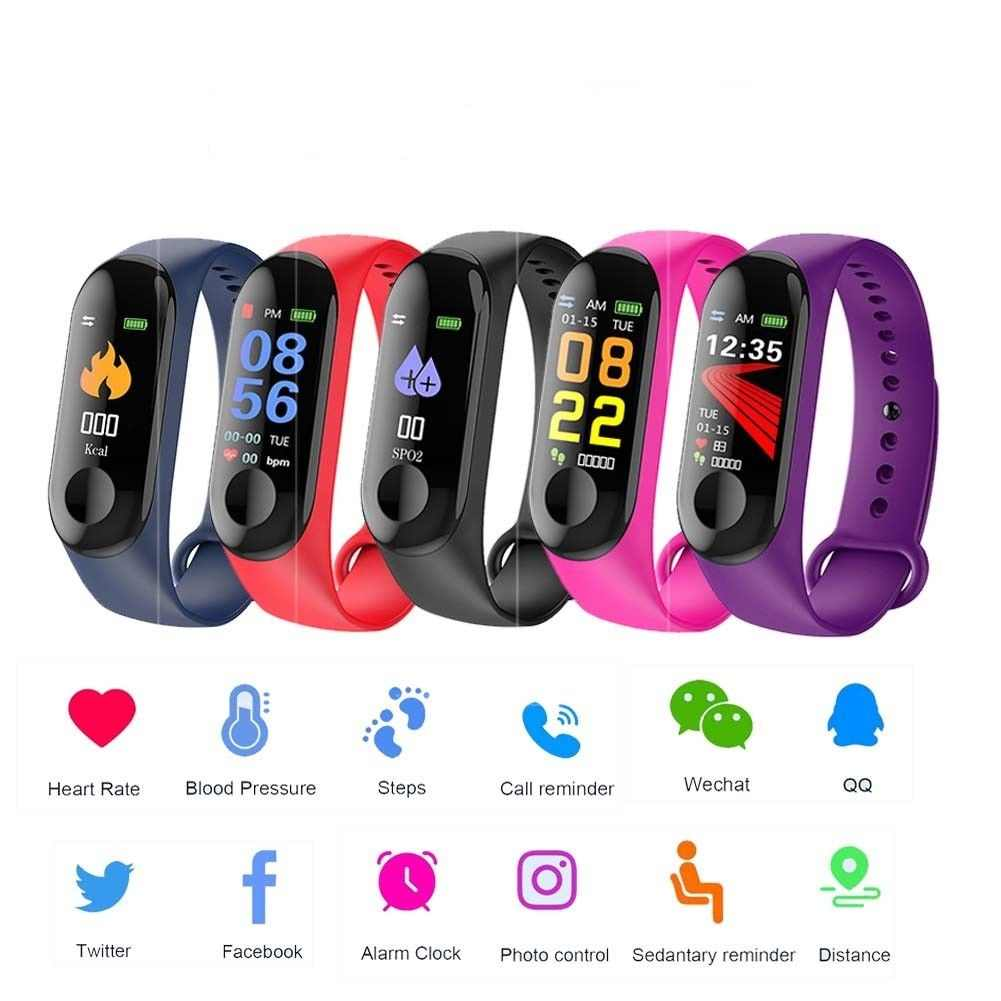 2019 New Color Screen Smart Men And Women Watch Sports Fitness Bracelet Waterproof Call Reminder Pedometer Track Men's And Women