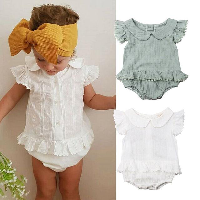 3e1d22b8c8c 2019 Children Summer Clothing Infant Kid Baby Girl Boy Solid Lace Jumpsuit  Short Sleeve Peter Pan Collar Bodysuit Sunsuit Outfit
