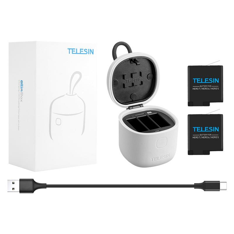 TELESIN Battery Charger And 2 Batteries Kit Charging Storage Box With Replacement Battery For GoPro Hero