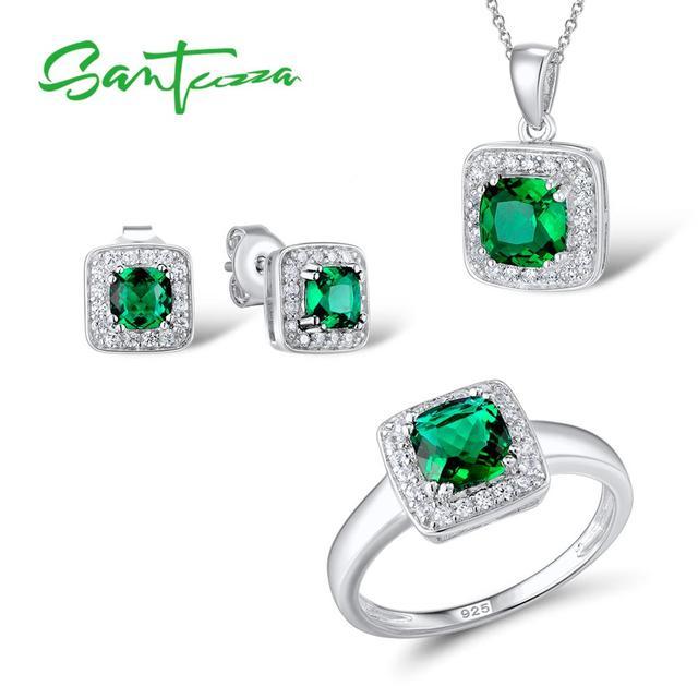 c78f8f404028 SANTUZZA conjunto de joyas de plata para las mujeres verde brillante CZ  anillo pendientes colgante conjunto
