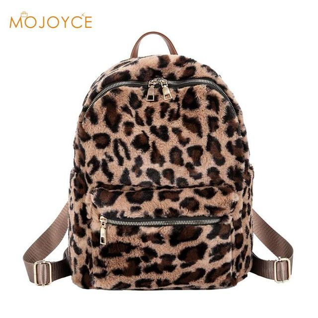 Casual Women Leopard Backpack Vintage Portable Female Preppy Style Backpack  Girls Small School Travel Bags Rucksack 2018 New