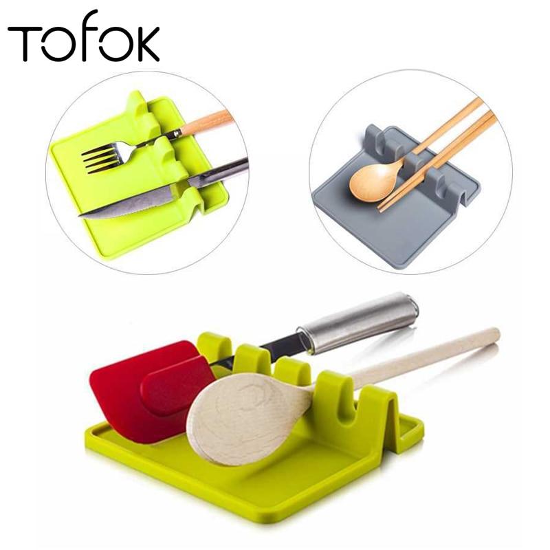 Tofok Spatula Holder Storage Shelf Spoon Rest Tableware Holder Draining Rack Mat Organizer Heat Resistant Kitchen Cooking Tools