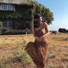 MUXU fashion chiffon leopard suspender dress streetwear sexy vestidos womens halter dresses jurken robe femme kleider