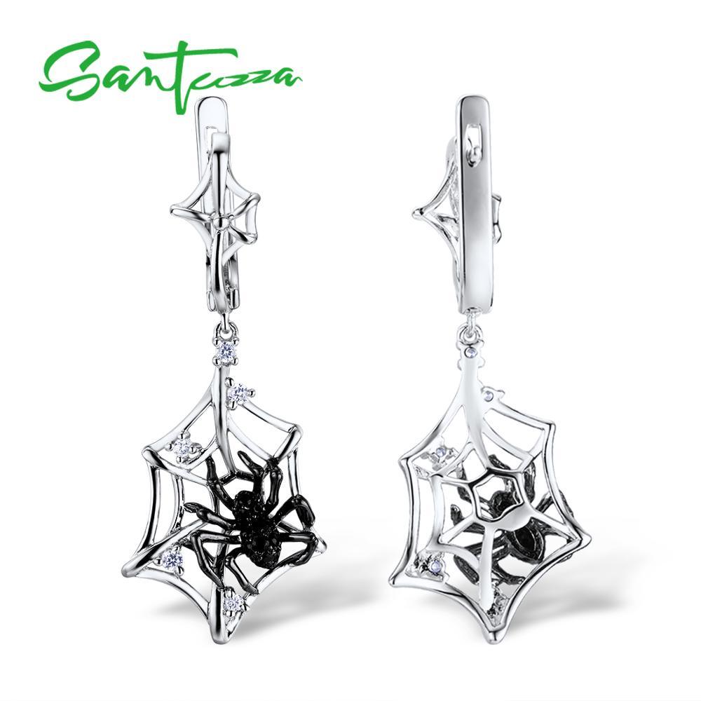 SANTUZZA Silver Earrings For Women 925 Sterling Silver Spider Dangle Earrings Sparkling Cubic Zirconia Fashion Jewelry