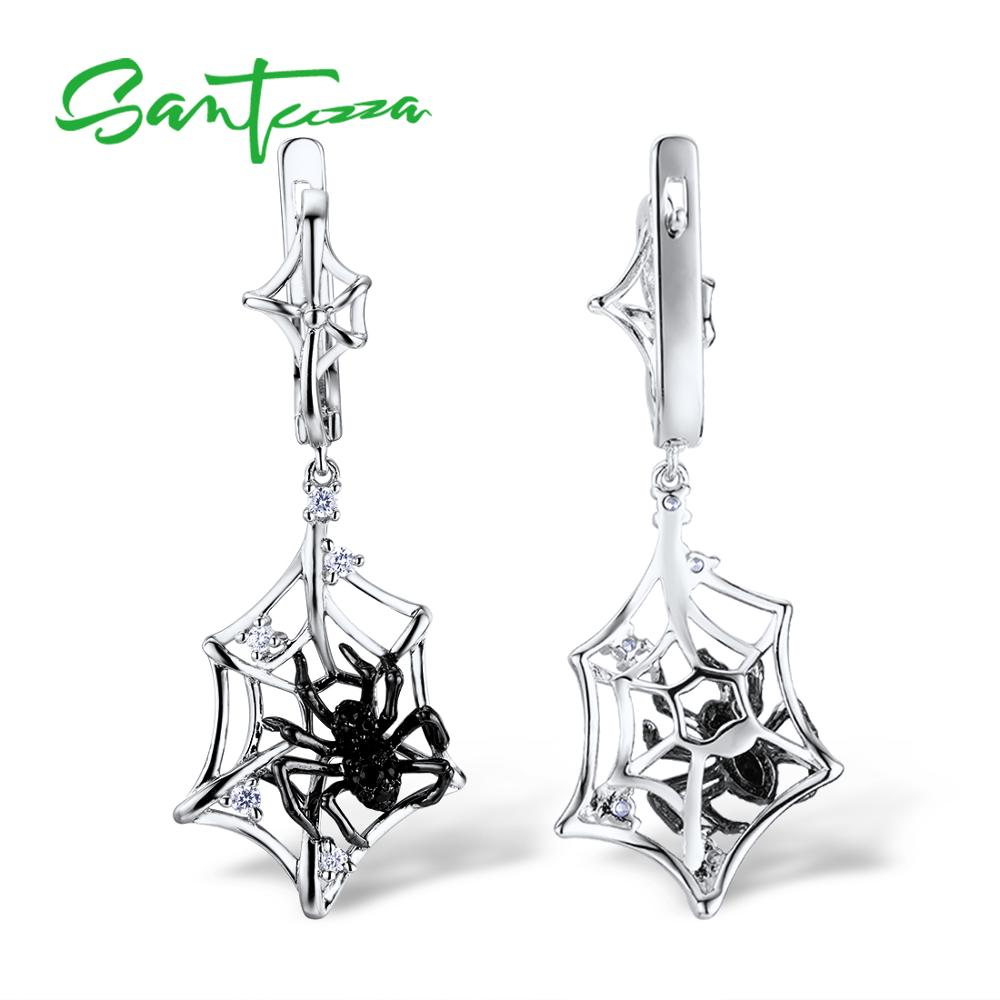 Image 3 - SANTUZZA Silver Earrings For Women 925 Sterling Silver Spider Dangle Earrings Sparkling Cubic Zirconia серьги Fashion Jewelry-in Drop Earrings from Jewelry & Accessories