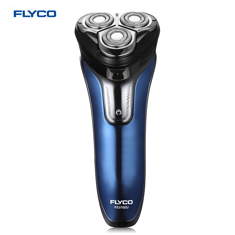 FLYCO FS375EU Men Electric Rechargeable Shaver 3D Rotary Shaver Wet Dry Rotary Razor Washable With LED Digital Display hot new deluxe rotary 4 rings head rechargeable washable men s electric shaver razor free shipping