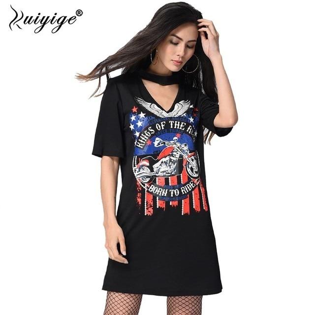 0fbcfa0eab68 Ruiyige 2019 New Summer Mini Party Dress Women Casual V Neck Halter Letter Punk  Rock Eagle Print Dresses Sexy Long Shirt Vestido