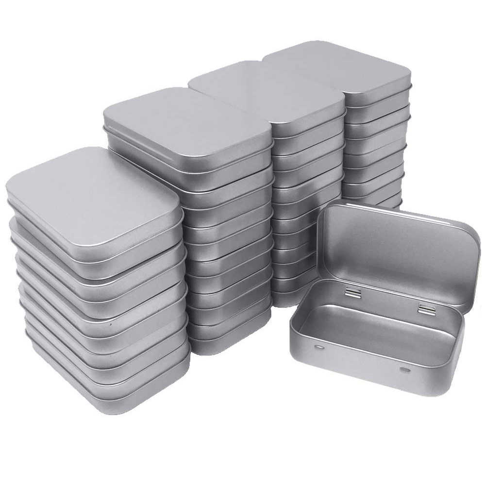 24 Pack Metal Rectangular Empty Hinged Tins Box Containers Mini Portable Box Small Storage Kit Home Organizer