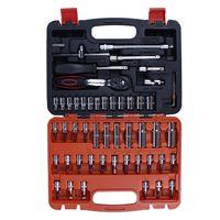 Hot 53 Piece/set Automotive Mechanics repair Tool Set with toolbox Case Car Motorcycle Home Repair Kit packing hand tool kit
