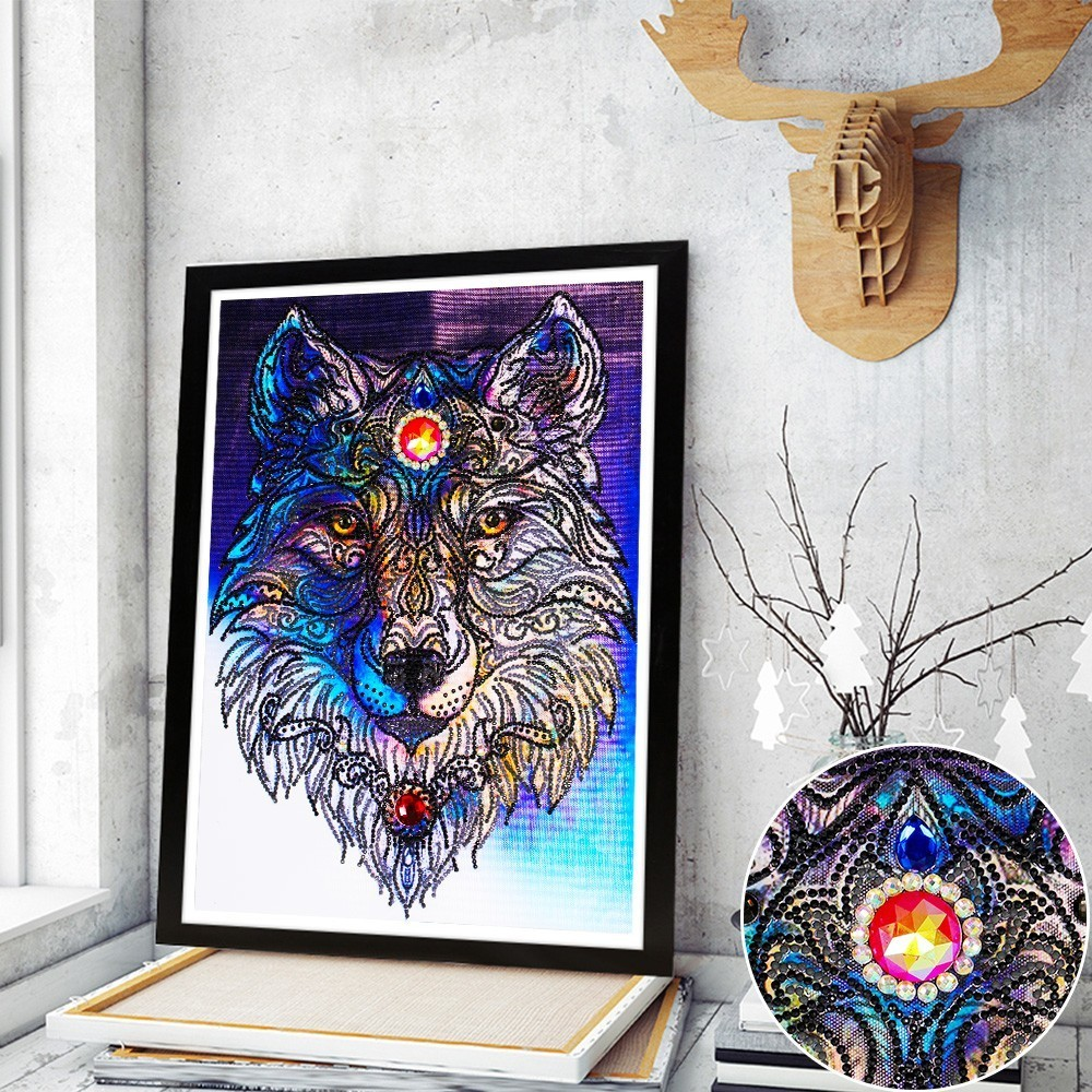 Huacan Diamond Painting Special Shaped Diamond Embroidery Animal Wolf Mosaic Picture Of Rhinestones DIY Home Decor Art Crafts skateboard deck