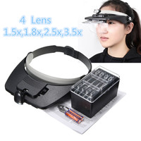 ZEAST Headband Magnifier with LED Light 1.2X 1.8X 2.5X 3.5X Plastic Acrylic Lens 4pcs Magnification Glasses
